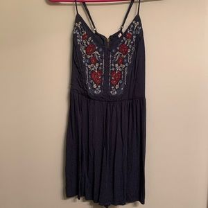 Embroidered Floral Navy Romper | Xhileration